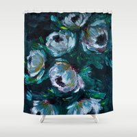 peonies Shower Curtains featuring Peonies by Loarn