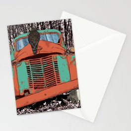 Old speed wagon with a wolf skull and a hawk. Stationery Cards