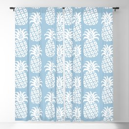 Mid Century Modern Pineapple Pattern Light Blue Blackout Curtain