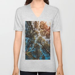 Trees and sky in sunlight- forest landscape - nature photography Unisex V-Neck