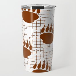 Bear Cub Paw Prints On Distressed Background Travel Mug