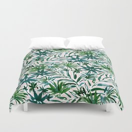 PLEASING PALMS Blush Tropical Leaves Duvet Cover