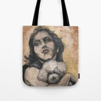 silence of the lambs Tote Bags featuring Playing Lambs by Colunga-Art