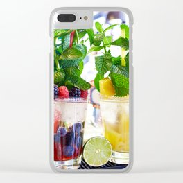 Fruit and berry cocktails with mint in cafe Clear iPhone Case