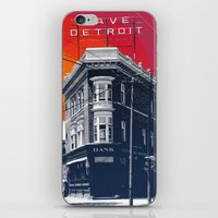 detroit iPhone & iPod Skins featuring Save Detroit by The Mighty Mitten - Great Lakes Art