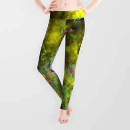 Stargazer - Abstract cyan, black, purple and yellow oil painting Leggings