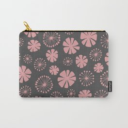 Floral Pattern - pale pink, charcoal gray Carry-All Pouch