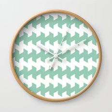 jaggered and staggered in grayed jade Wall Clock