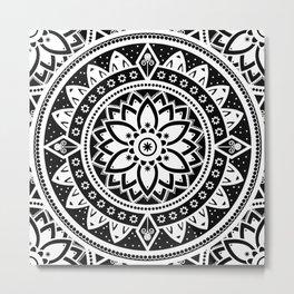 Black & White Patterned Flower Mandala Metal Print
