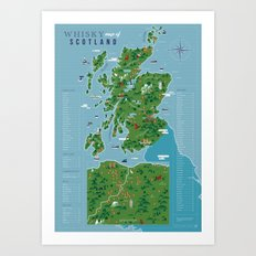 Whisky map of Scotland Art Print