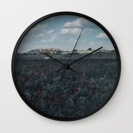 Red flowers in tuscany Wall Clock