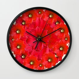 AWESOME RED FLOWERS BOUQUET PATTERN ABSTRACT ART Wall Clock