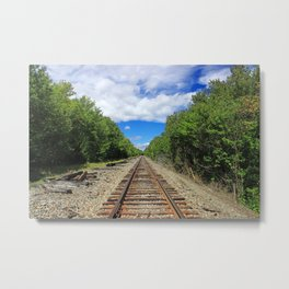 Beautiful Day Train Tracks Metal Print