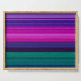Vibrant Purple Pink and Green Stripes Serving Tray