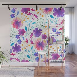 Colouful Watercolour Floral Pattern Wall Mural