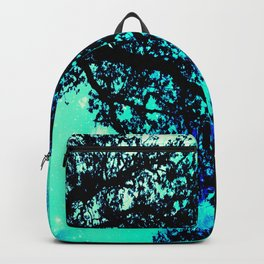 Black Trees Turquoise Teal Space Backpack