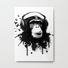 Monkey Business - White Metal Print