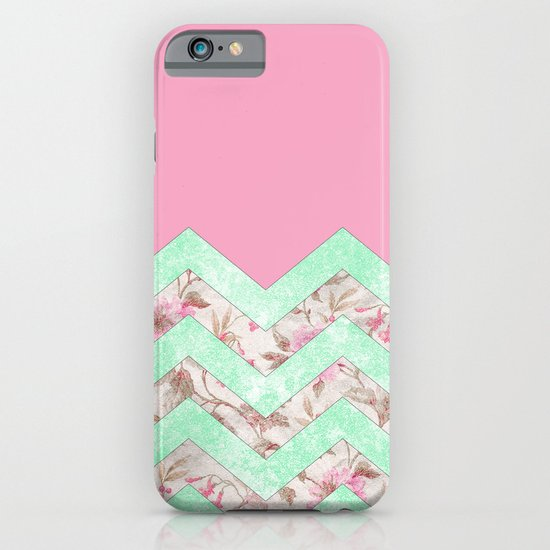 Girly Mint Green Pink Floral Block Chevron Pattern iPhone & iPod Case