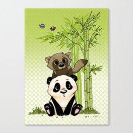 Tanuki et Panda Canvas Print