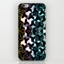 Crayon geometric and marble collage iPhone Skin