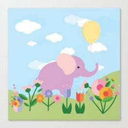 Purple Elephant and Balloons, nursery decor , Canvas Print