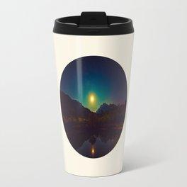 Colorful Night Sky Blue Green Purple With Mountains Travel Mug
