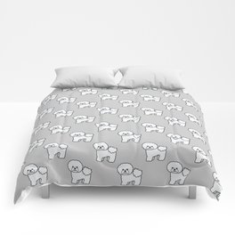 Cute White Bichon Frise Dog Cartoon Illustration Comforters