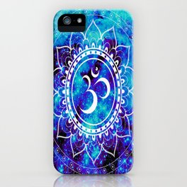 Om Mandala : Bright Violet & Teal iPhone Case