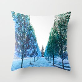 Path to Reality : Turquoise Teal Trees Throw Pillow