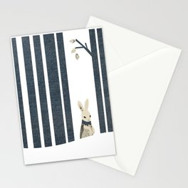 Winter Scene with Rabbit (Chasing the White Rabbit) Stationery Cards