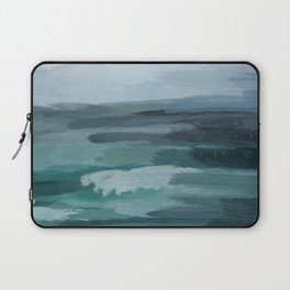 Seafoam Green Indigo Abstract Ocean Art Painting Laptop Sleeve