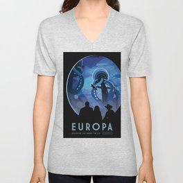 Jupiter's Moon EUROPA Discover Life Under the Ice, JPL Visions of the Future Poster Unisex V-Neck