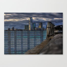 ny harbor collage digital negative Canvas Print