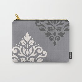 Scroll Damask Art I Cream & Grays Carry-All Pouch