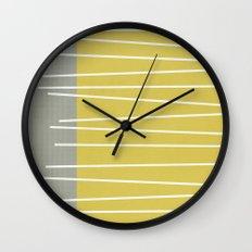 MId century modern textured stripes Wall Clock