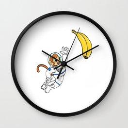 Are You A Fan Of Astronomy? An Astronaut Dreamer? Here's A Monkey Banana Antronaut T-shirt Design Wall Clock