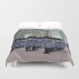 Band Plays During Changing of the Guard at Buckingham Palace London England Duvet Cover