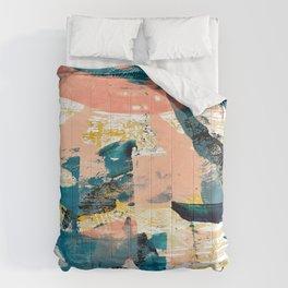 033.4: a vibrant abstract design in pink blue yellow an black Alyssa Hamilton Art Comforters