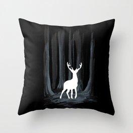 Glowing White Stag Throw Pillow
