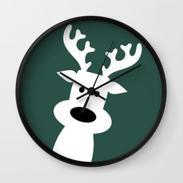 Reindeer on green background Wall Clock