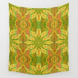 Sun Flower, bohemian floral, yellow, green & orange Wall Tapestry