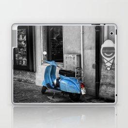 Blue Vespa in Venice Black and White Color Splash Photography Laptop & iPad Skin