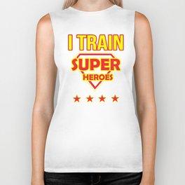 I Train Superheroes School Teacher Design Funny Superhero Teachers Image Biker Tank