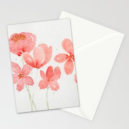 Red Orange Poppy Style Loose Watercolor Wildflowers Stationery Cards