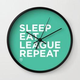 Eat League Sleep Repeat Wall Clock