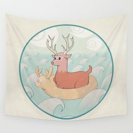 Deer Across the Sea Wall Tapestry