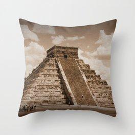 Chichen Itza Sepia Throw Pillow