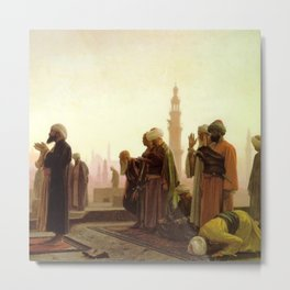 Islamic Masterpiece 'Prayer in Cairo' cityscape rooftop prayer portrait by Jéan Leon Gerome Metal Print