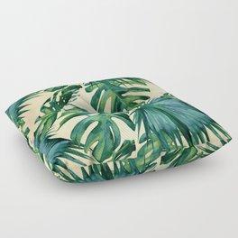 Tropical Island Republic Green on Linen Floor Pillow