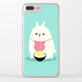 Fat bunny eating noodles Clear iPhone Case